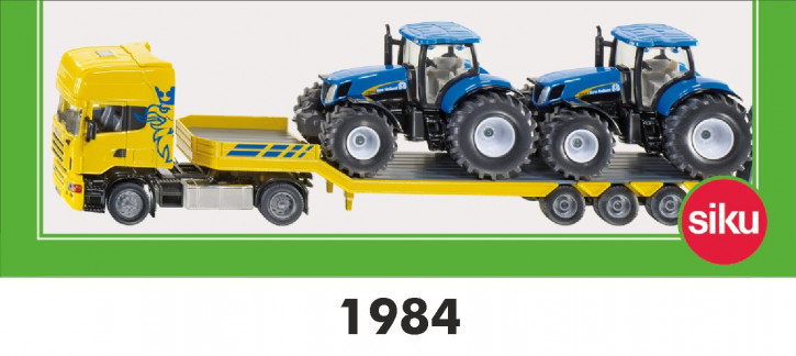 Scania mit Tieflader und zwei Traktoren New Holland M 1:50 -werkseitig ausverkauft-